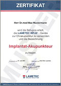 Diplom Zertifikat Implantat-Akupunktur